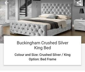 Kingsize crushed silver velvet bed frame