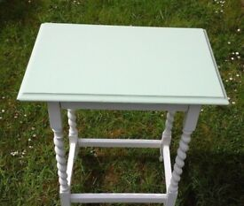 Shabby Chic Painted Antique Oak Side Table With BarleyTwist Legs