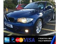 🔵 BMW 07 118D M Sport 3DR 1 YEAR FULL MOT Le Mans Blue Sports Hot Hatchback Diesel 🔵