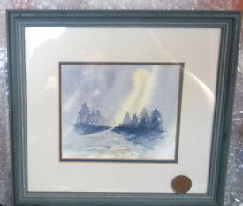 framed watercolor scene picture