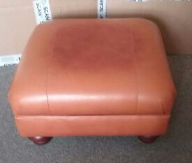 Leather Brown Footstool Pouffe, Excellent Condition