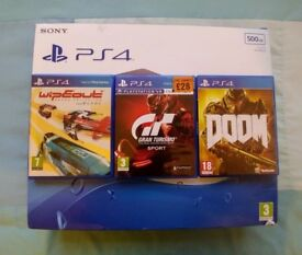 Sony PS4 500mb with three games. Gran Turismo Sport, Doom and Wipeout Omega Collection.
