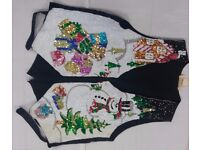 Unisex Sequined Gingerbread House & Snowman Christmas Waistcoat, Great detail