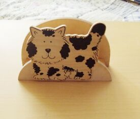 Cat Letter Holder, Wood, Nice condition, 7 inches by 5 inches.