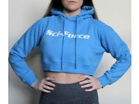 Womens Sci-Force Pullover Crop Top Hooded Full Length Sleeves Hoodie Sweatshirt