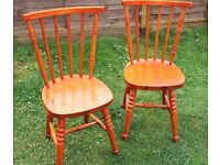2 x Pine Chairs - kitchen, dining room, study etc with cushions