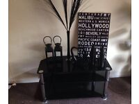 Black TV Stand and Accessories