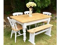 Farmhouse Pine Table 4 Chairs & Bench