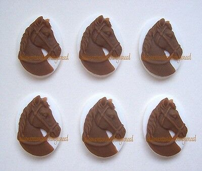 6 Mocha BROWN color HORSE on WHITE 25mm x 18mm Costume Jewelry CAMEOS for Crafts - Costumes For Horses