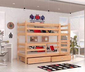 *SALE* Brand New Children Wooden Bunk Bed JACK Solid Pine 2x Foam Mattresses+Storage/Drawer Included
