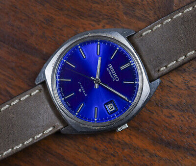 Vintage SEIKO 6118 8019 Stainless Steel 17 Jewels Automatic Blue Dial Watch
