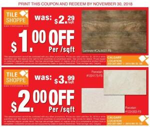 "THE TILE SHOPPE COUPON ""HUGE SALE"" Poecelain Tile, Laminate"