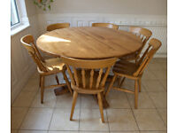 SOLID PINE DINING TABLE (SITS 6-8) + 8 CHAIRS - GREAT USED CONDITION