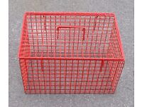 Cat or Small Dog Red Wire Basket 46 cm x 30cm x 30cm plus litter tray and two food or water bowls