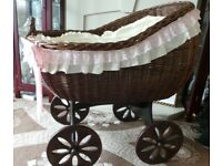 beautiful wicker crib stand and bedding