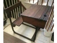 Vintage Wooden and metal School Desk table
