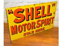 Shell Motor Spirit 1930s advertising enamel sign garage petrol vintage retro antique decor mancave