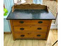 Antique Pine Victorian Chest of Drawers Washstand Marble Top
