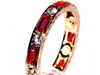 DAZZLING 9CT GOLD ART DECO STYLE SPINEL STACKING ETERNITY RING MADE ENG HALLMARKED