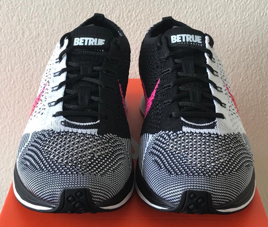 newest fe243 4b3cd Nike Flyknit Racer Be True Black White Pink UK 8 - 902366 100 Gay Pride  LGBTQ