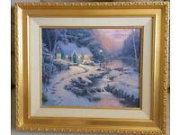"THOMAS KINKADE FRAMED LITHOGRAPH ON CANVAS EVENING GLOW CHRISTMAS COTTAGE 25.5"" x 29.5"""