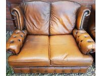Chesterfiled like 2 seater leather sofa and leather chair in very good condition