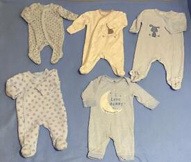 Baby boy bundle of sleepsuits of 0-3 months, some not worn at all.