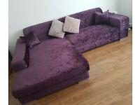 Stunning large purple velvet sofa/sofabed