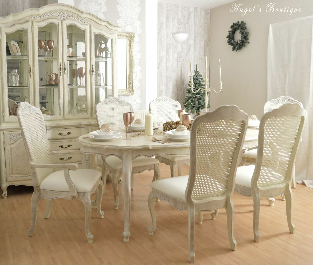 sold christmas sale unique french shabby chic dining table and six chairs in. Black Bedroom Furniture Sets. Home Design Ideas