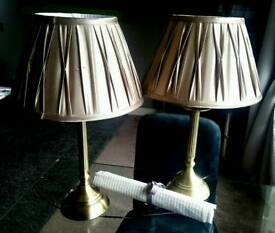 **Bedside Lamps x2** Gold Finish**New Cond**