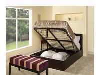 Brand New 4ft6 Double Ottoman Leather Storage Bed Frame, Orthopaedic Mattress Express Delivery Small