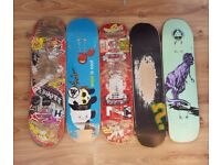 5 Used Skateboards Decks