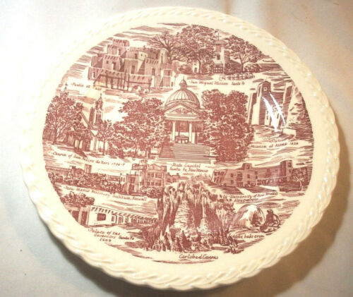 Vernon Kilns Souvenir Collector State Plate: NEW MEXICO: Enchantment:Red: EXC:NR