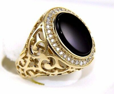 Oval Black Onyx & Diamond Men's Solitaire Fashion Ring 14k Yellow Gold 5.90Ct