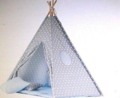 Wigiwama Dots grau Teepee mit Baby blau Matte,  *NEU*