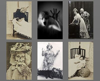 Lot of 6 Scary Vintage Creepy Clown Monster PHOTOS Skull Demon Freaky Skeleton (Scary Demons)