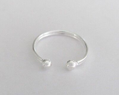 Sterling Silver Dainty 2 bead adjustable toe ring