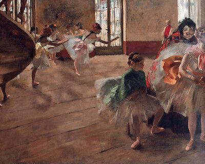 Degas Ballerina Paintings - Degas The Ballerina Ballet Dance Rehearsal Painting 8x10 Real Canvas Art Print