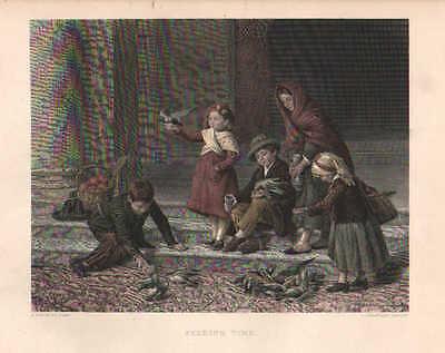 Children, Birds, Pigeons, Feeding Time, Vintage 1874 Antique Art Print, CUTE!