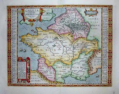 1603 Ortelius Map ANCIENT GAUL France of Julius Caesar Scholarly & Decorative