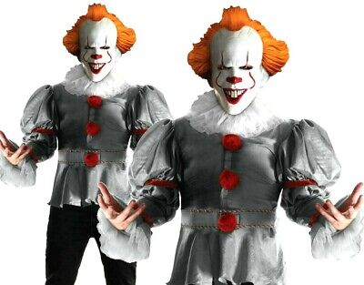 Adult Deluxe IT PENNYWISE Stephen King Fancy Dress Costume Halloween Clown Scary