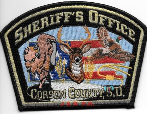 "Corson County Sheriff, SD (5"" x 3.5"" size) shoulder police patch (fire)"