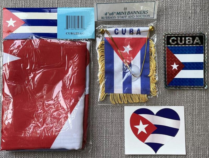 Cuba 3x5' CUBA CUBAN FLAG Package Mini Car Banner 2 Stickers New