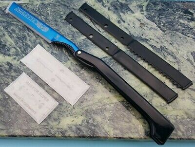 Dovo Shavette Blue Folding Straight Razor Black Handle Knife Insert +Blades