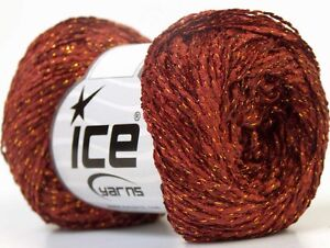 Lot of 8 Skeins ICE MISC SALE Hand Knitting Yarn Brown Gold