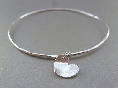 Silver Heart Charm Bangle - Sterling Silver Solid Flat Hammered Bracelet Bangle