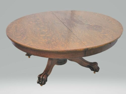 Vintage Victorian American Tiger Oak Round Coffee Table Circa 1900