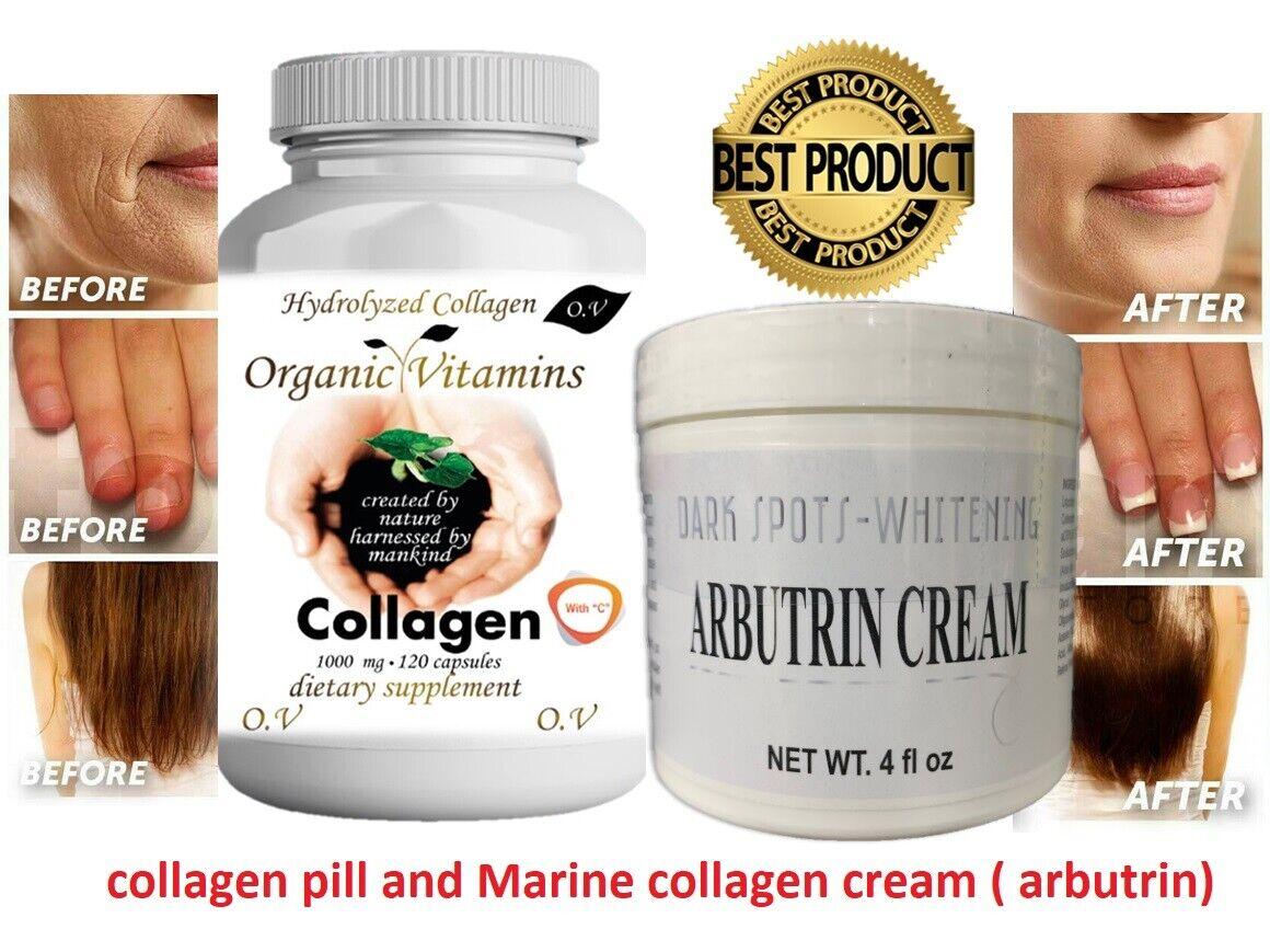 Pastillas y Crema Colageno Hidrolizado Para Huesos Uñas Piel Antiarrugas KIT
