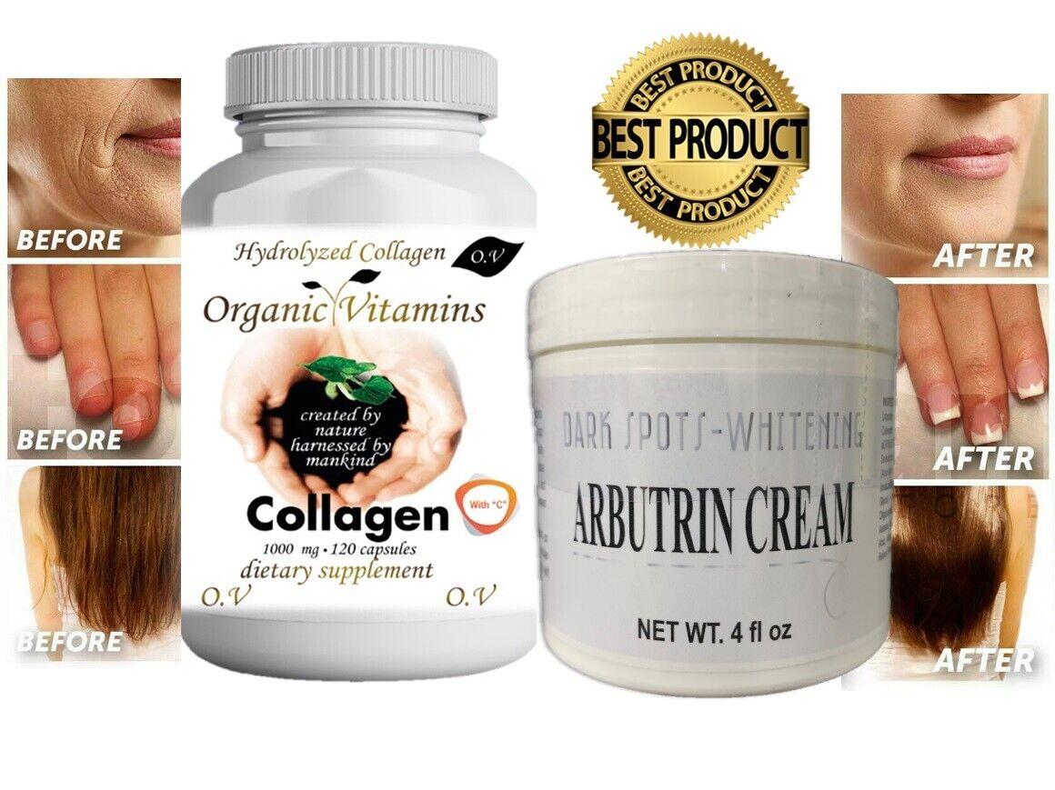 Pastillas y Crema Colageno Hidrolizado Para Huesos Uñas Piel Antiarrugas KIT 5