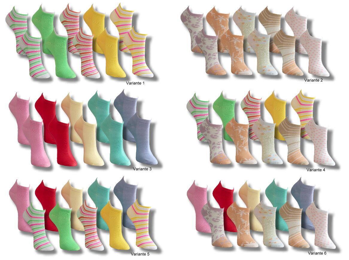 10 Paar Socken SNEAKER Füßlinge Damen Mädchen Sneakersocken Ringel bunt